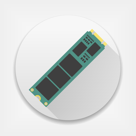 M.2 Solid State Drive. SSD icon with long shadow  イラスト・ベクター素材