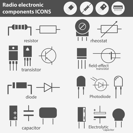 Electronic and radio components vector icon set in flat style Stock Photo