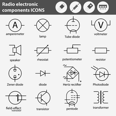 Symbols Of Radio Electronic Components Line Gray Icons Set. Stock ...