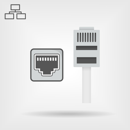 Ethernet cable and port isolated vector icon, network socket icon, ethernet connector realistic icon with shadows