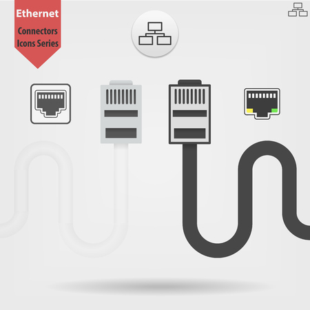 Ethernet cable and port isolated vector black and white icons, network socket icons, ethernet connector icon 向量圖像