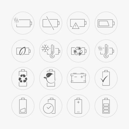 アキュムレータバッテリインジケータラインアイコンが設定します。フラットスタイルでモダンな生態学のアイコン