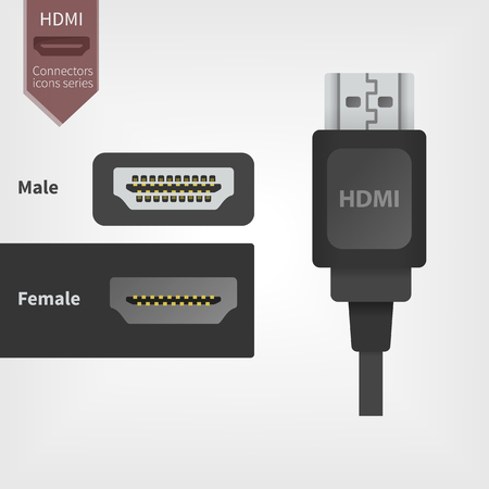 HDMI Video jack, digital cable icon. The Plug and Connector in flat design for Manuals and a Graphic. Connectors icons series