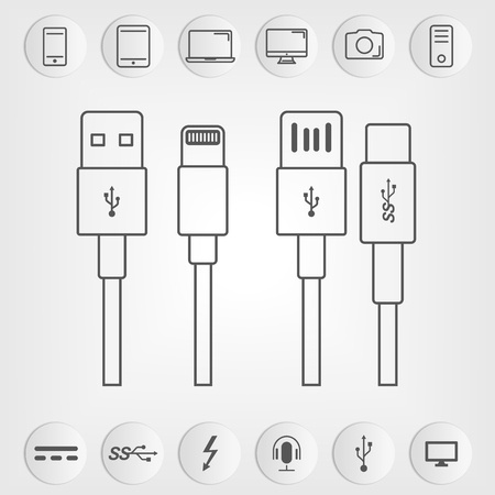 Set of USB and USB type-C interfaces. Vectores
