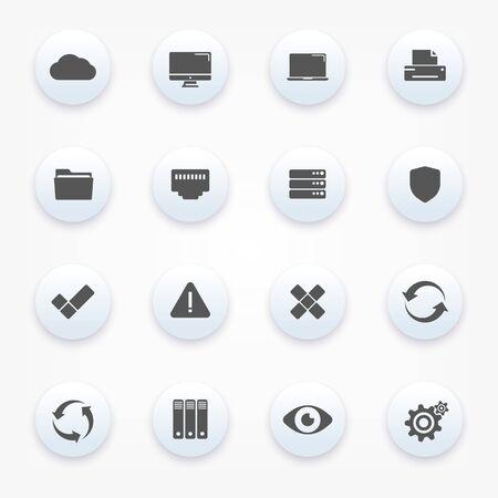 Technology icons set Illustration
