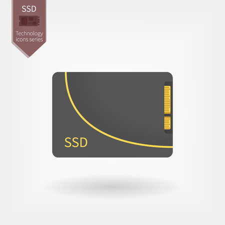 Solid state drive on isolated background Illustration
