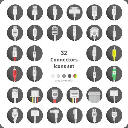 32 Connectors icons set Illustration