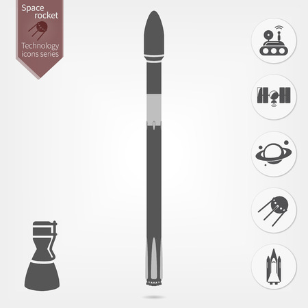 space rocket illustration and thematic icons set Vector Illustration