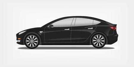 Flat vector illustration of a black electric car. Urban modern sedan concept. Vector Illustration