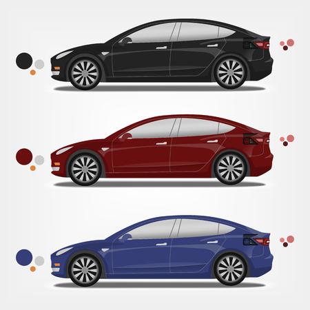 Illustrazione vettoriale piatta di un'auto elettrica in una tavolozza diversa. Facile da ricolorare. Nero, rosso, blu