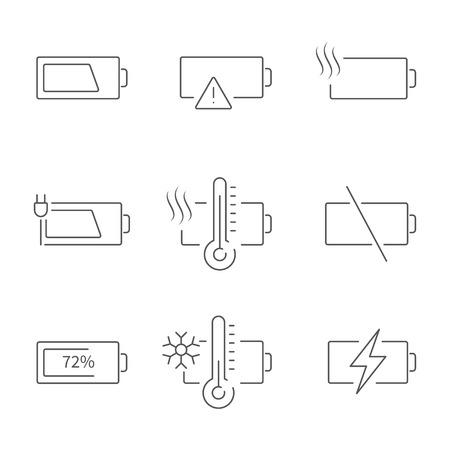 Battery line icon set. Battery indicator flat vectors or logo. Collection of high quality outline symbols for web design, mobile app. Illustration