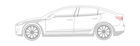 Electric Car transparent silhouette. Ready to colorize. EV icon concept