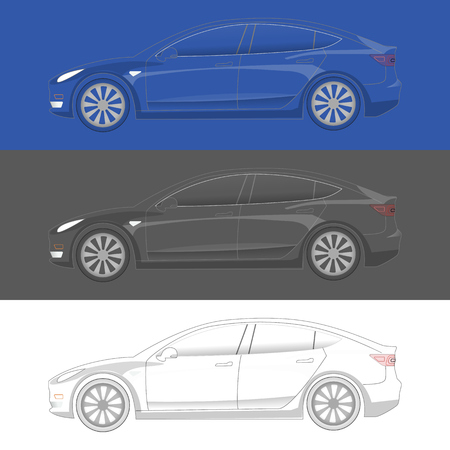 Electric Car transparent silhouette. Ready to colorize. EV icon concept in 3 color theme
