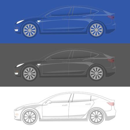 Transparente Silhouette des Elektroautos. Bereit zum Einfärben. EV-Symbolkonzept im 3-Farben-Design