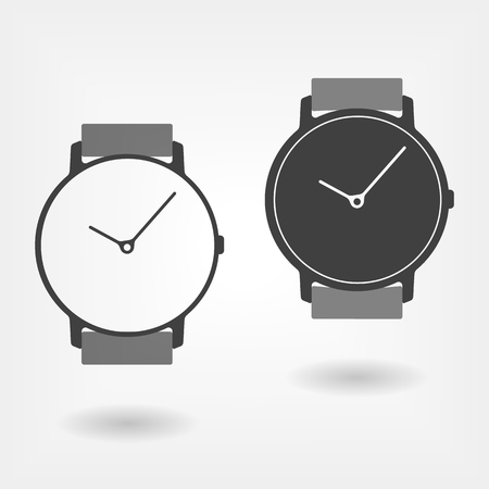 Classic watch simple icons. Isolated vector sign in two colour. It's time to do it
