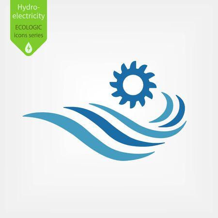 Icona di centrali idroelettriche. Illustrazione vettoriale di concetto di generazione di energia idroelettrica