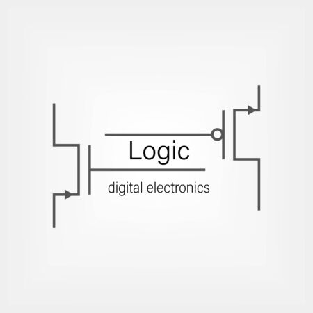 Symbols for building blocks of logic gates. N-MOS and P-MOS transistor schematic symbols. Electrical company logo design. Vettoriali
