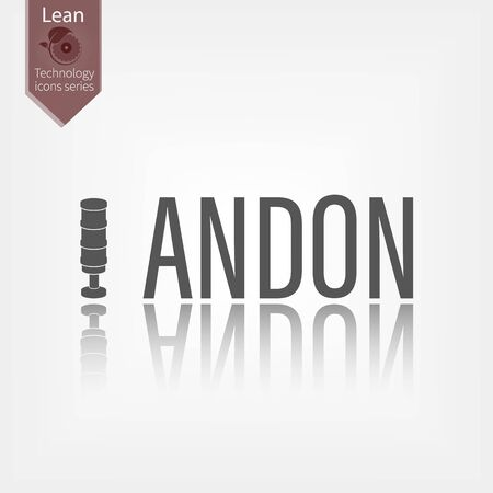 Andon word vector illustration. Lean manufacturing tool icon Çizim