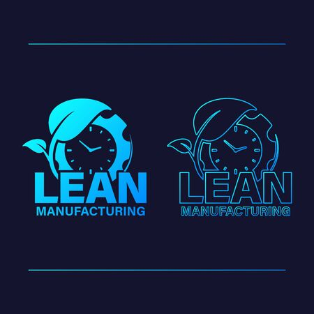 Lean manufacturing icon vector design. Gear with watch and leaf concept and outline silhouette