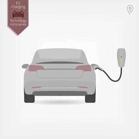 charging electric car generic sedan in garage flat illustration