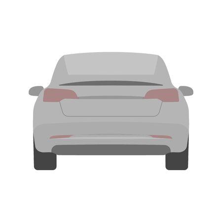 Car back view. Urban car. Vector line illustration isolated on white. Editable stroke
