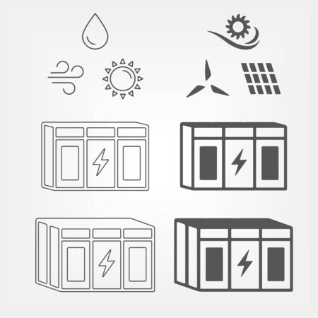Energy storage for renewable power stations. Grid backup system sign with renewable energy sources icons