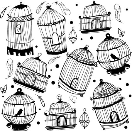 Birdcage PATTERN. Seamless pattern with the image of birdcage and birds black and white
