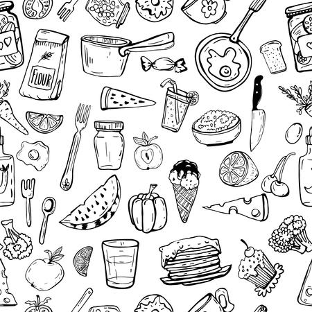 台所用品、調理オブジェクトのシームレスなパターン。