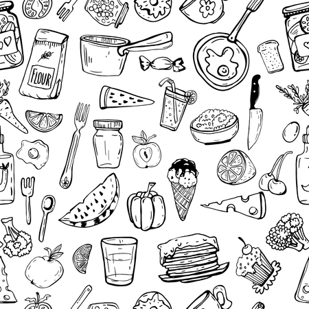 Seamless pattern of kitchen utensils and cooking objects. Stock fotó