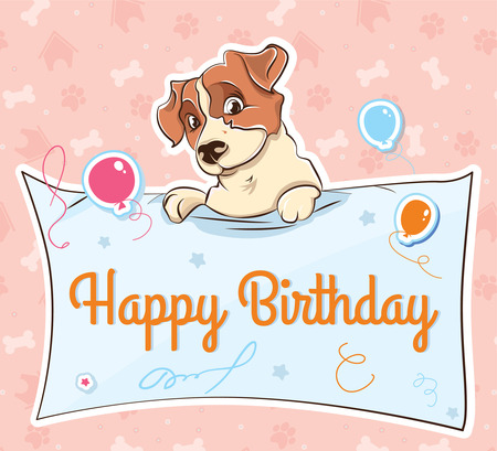 Jack Russell terrier llustration cartoon for card happy Birthday