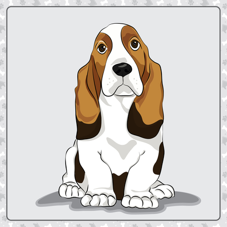 Cute Saint Bernard puppy. Adorable cartoon dog illustration