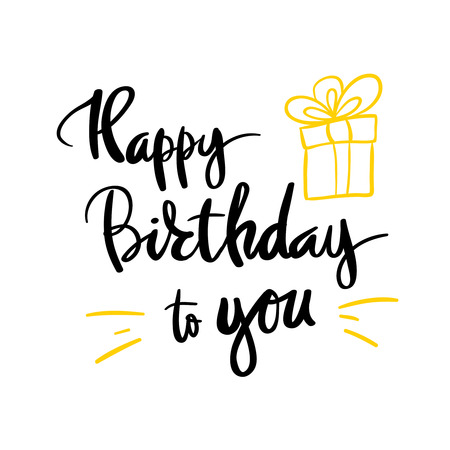 Happy birthday beautiful greeting card scratched calligraphy black text word Illustration