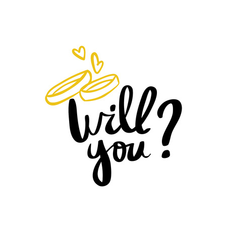 Will you marry me hand lettering typography text for wedding decor family or home design Hand written sign