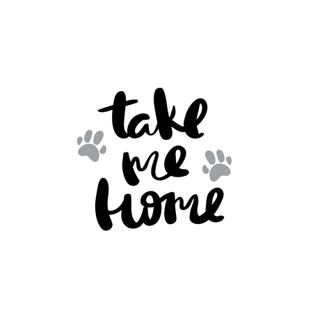 Take me home postcard ink modern brush calligraphy isolated