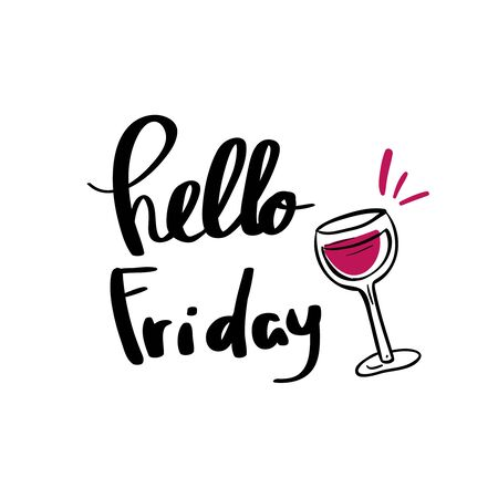 Hello friday words typography design hand lettering banner