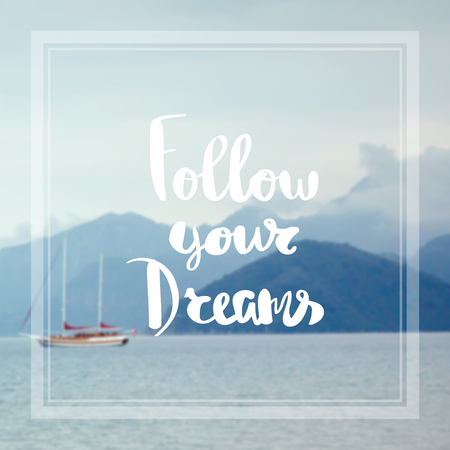 Motivational Quote on purple color background follow you Dreams Stock Photo