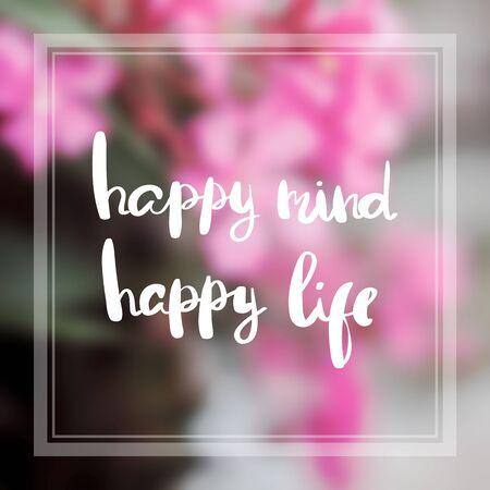 Motiverende citaat op paarse kleur achtergrond Gelukkig geest gelukkig leven