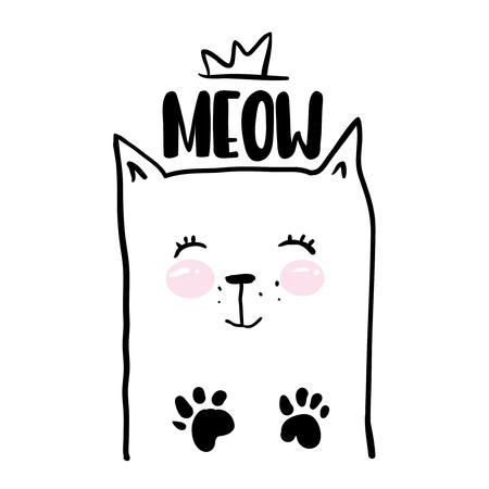 silueta de gato: Cute hand drawn kitty inside lettering quote with cat