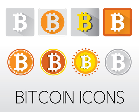 set of bitcoin icons with long shadow for website app presentation website