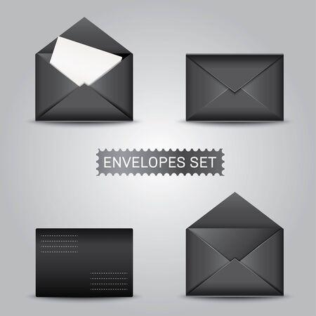 Realistic black envelopes envelope blank envelope mock up envelope template Stock Photo