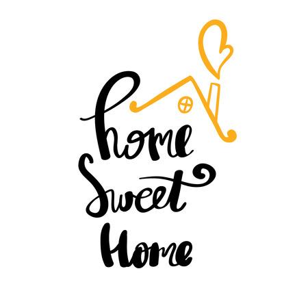 Home Sweet Home typography poster. Handmade lettering print. Vector vintage illustration