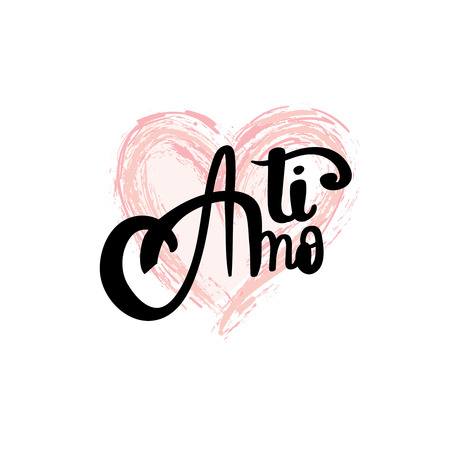 rich couple: Ti amo brush lettering i love you italian text calligraphy lettering for valentine card
