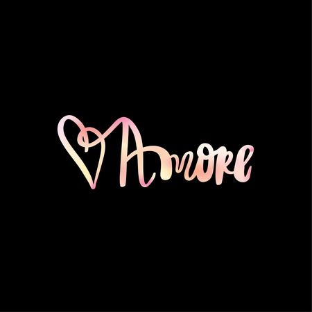 amore: Amore black and white hand lettering inscription to wedding invitation or valentines day greeting Stock Photo