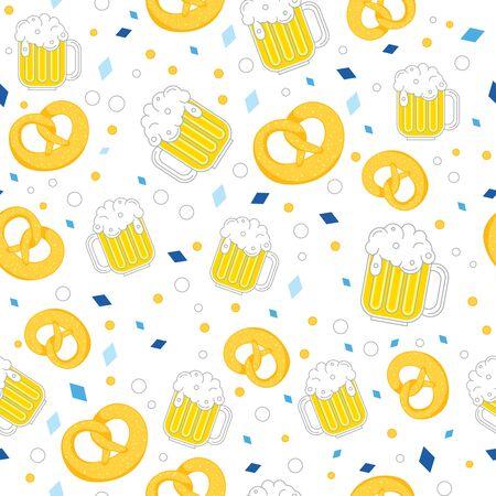 Oktoberfest seamless pattern tasty pretzels on light background. beer and pretzel pattern Illustration