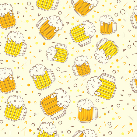 Seamless beer pattern oktoberfest background saint patrick design