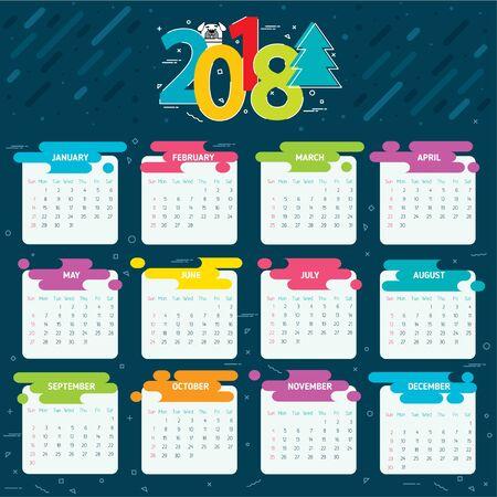 2018年日历网格一年