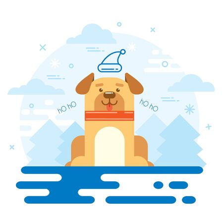 dog new year 2018 flat design