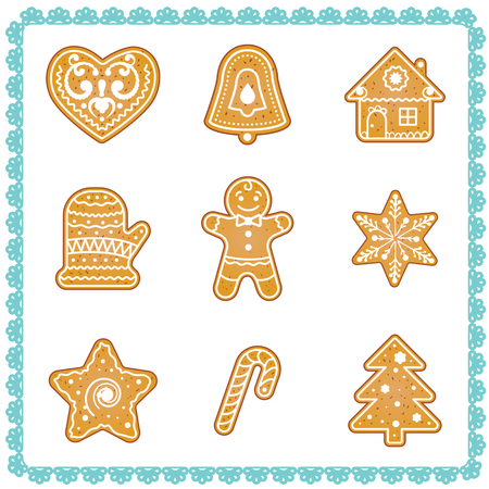 Vector set of christmas cookies illustrations. Vector hand drawn illustration with frame Illustration