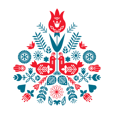 Symmetrical composition of ethnic elements. The Nordic spring set for design. Flowers, birds and leaves Illustration