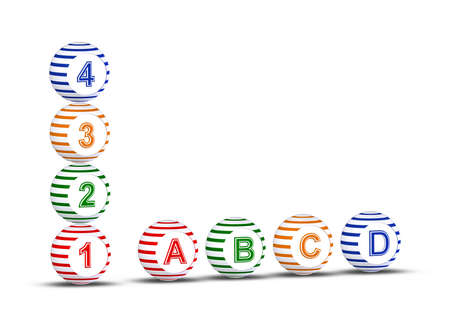 Striped balls with numbers and latters on white background Stock Photo - 16878734